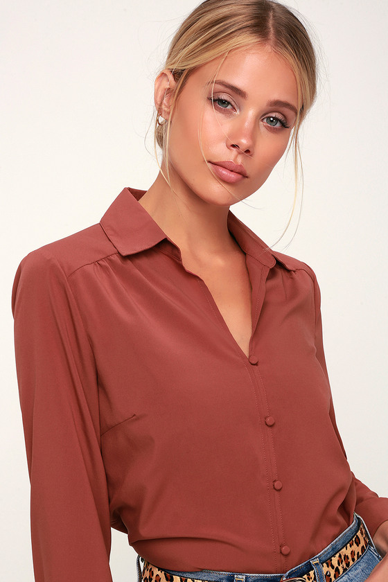 01f6c145048e Chic Rusty Rose Top - Long Sleeve Top - Long Sleeve Button-Up Top