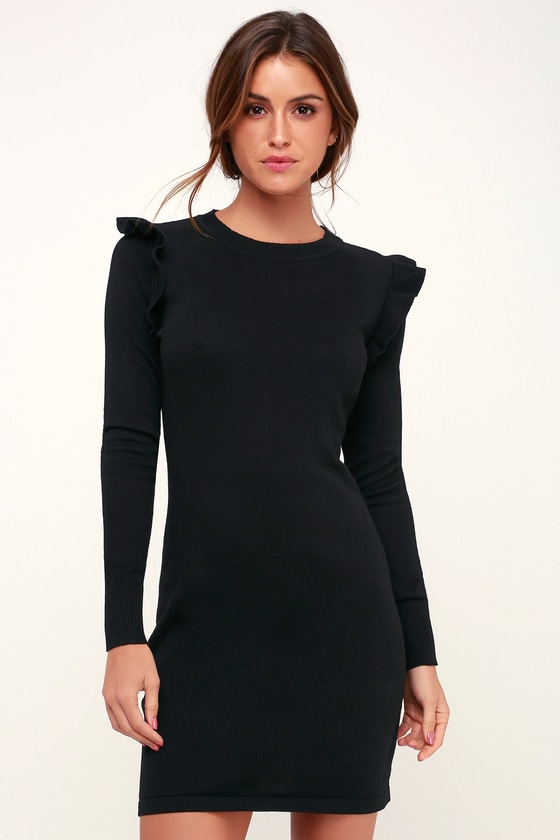 204738db29ef Cute Black Sweater Dress - Ruffled Sweater Dress - Bodycon Dress