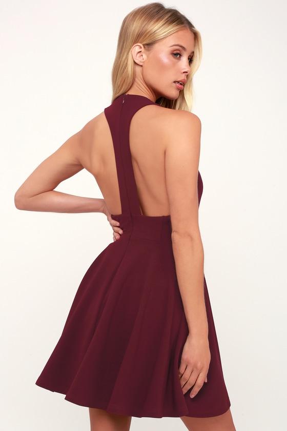 b9006e81c74 Cute Burgundy Dress - Skater Dress - Racerback Dress - Fun Dress