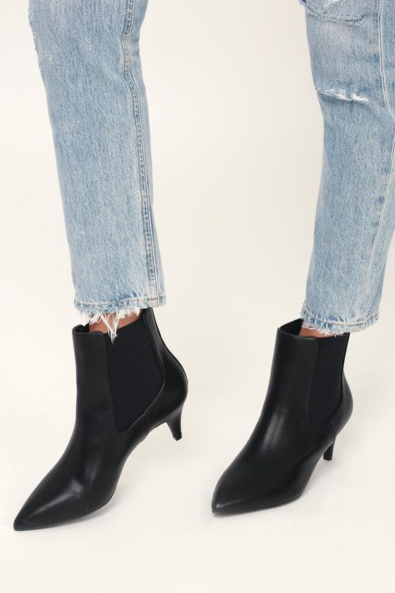 8093d8bd007 Kittie Black Kitten Heel Pointed Toe Ankle Boots