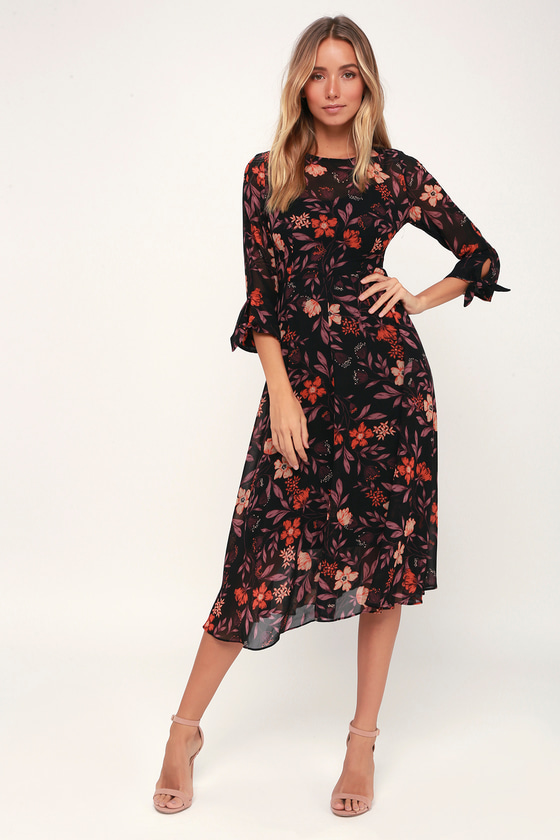 c9c9b9bfc5 Passionate Love Black Floral Print Midi Dress