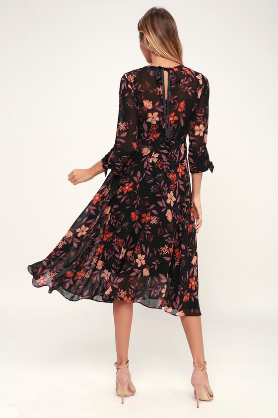 0d803c278a0 I. Madeline Dress - Black Floral Print Dress - Midi Dress - Dress