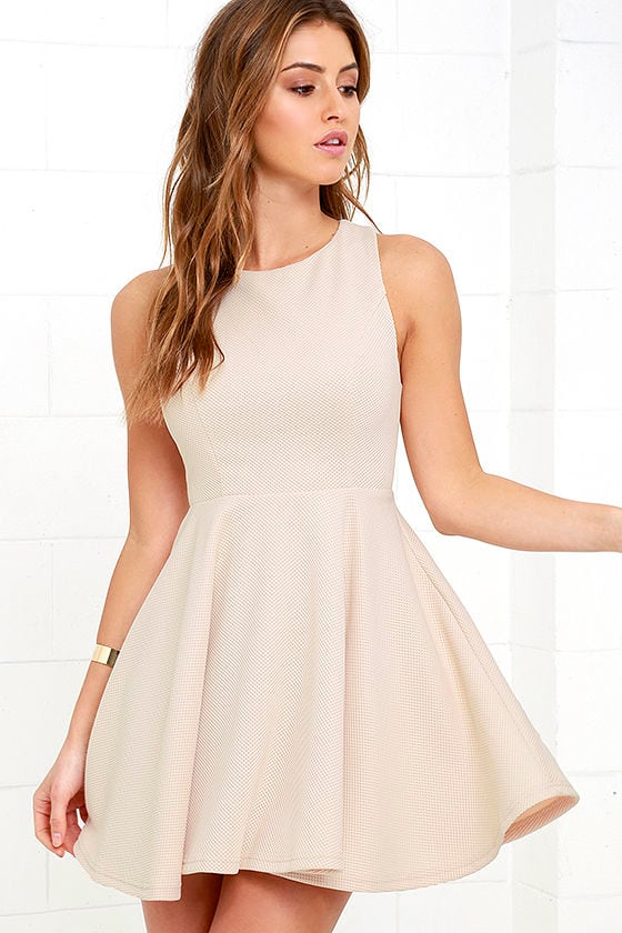 Cute Beige Dress Skater Dress Backless Dress 49 00
