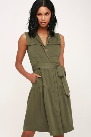 Cute Olive Green Dress - Button-Up Dress - Shirt Dress - Midi 0de6f1390