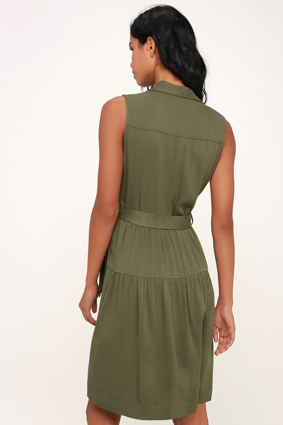 f03fe56ba4 Cute Olive Green Dress - Button-Up Dress - Shirt Dress - Midi