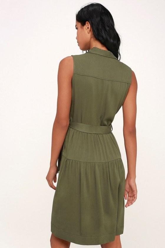 17075b06b68 Cute Olive Green Dress - Button-Up Dress - Shirt Dress - Midi