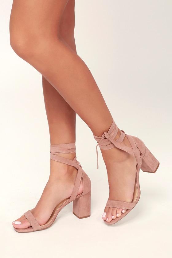 073d1ddbee Lulus Airis - Mauve Suede Heels - Lace-Up Heels