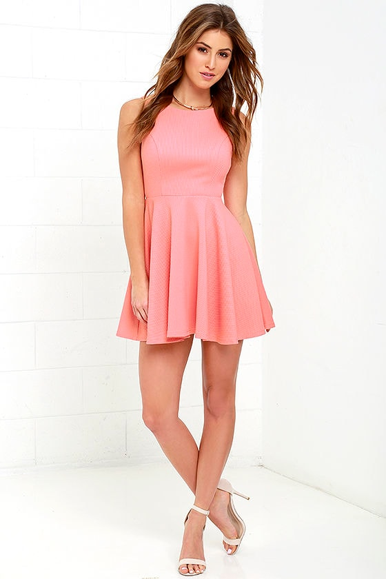Cute Coral Pink Dress - Skater Dress - Backless Dress - $49.00