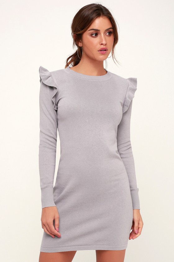 0d25d94bcb20 Cute Lavender Sweater Dress - Ruffled Sweater Dress - Short Dress