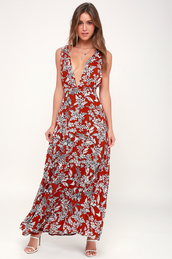 0bf8257ece2 Lovely Rust Red Floral Print Dress - Backless Dress - Maxi Dress