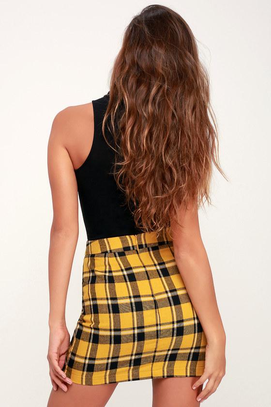 ccc9d686b6 Cute Black and Yellow Skirt - Plaid Mini Skirt - Flannel Mini