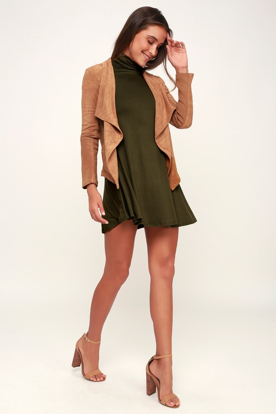 893fdfdbe956 Chic Olive Green Dress - Swing Dress - Long Sleeve Dress -  38.00