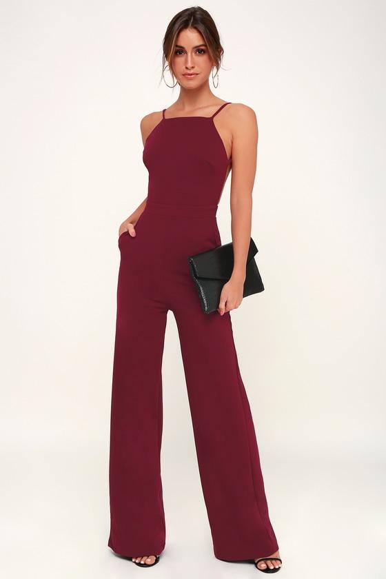 ff8e3125e6cf Chic Burgundy Jumpsuit - Backless Jumpsuit - Wide-Leg Jumpsuit