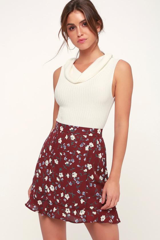 Pocketful of Petals Burgundy Floral Print Ruffled Mini Skirt