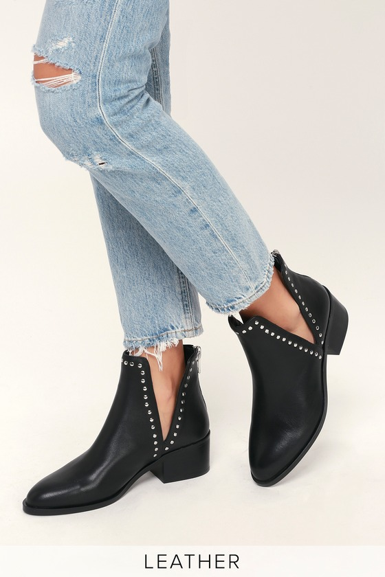 e9778b56596 Steve Madden Conquest - Black Leather Booties - Studded Booties