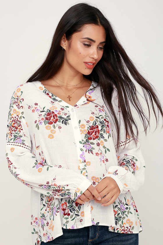 Nichole White Floral Print Button-Up Long Sleeve Top - Lulus