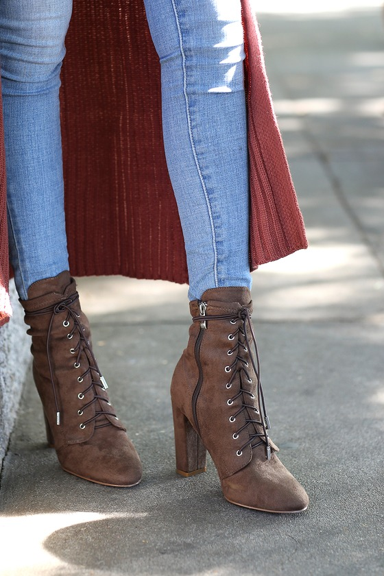 Soraka Taupe Suede Lace-Up Mid-Calf Booties