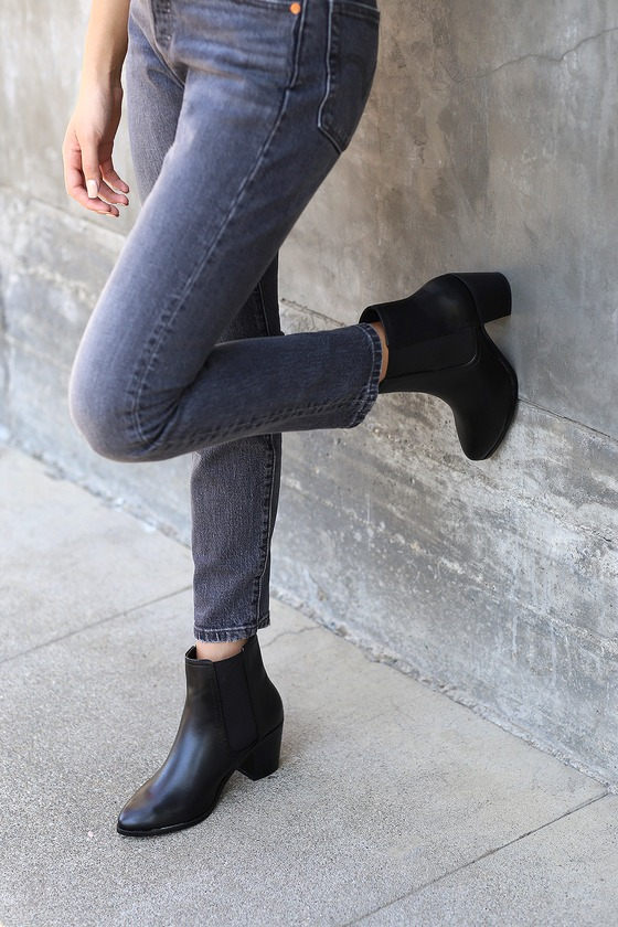 d8dcf57ca7e5f Cute Black Bootie - Black Ankle Boot - Vegan Leather Bootie