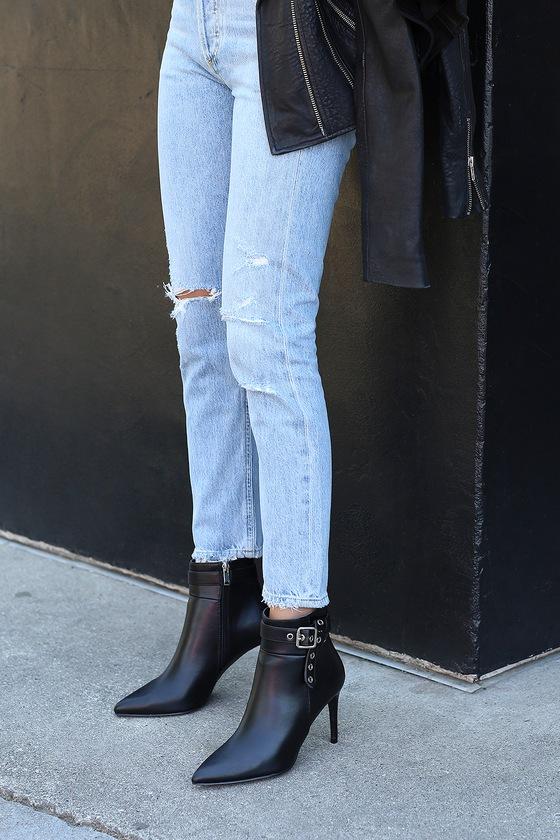 1f873fca0cc89 Sleek Black Booties - Black Ankle Booties - Vegan High Heel Boots