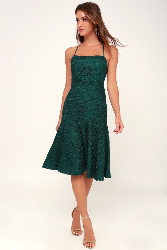 ba2491fb01 Lovely Forest Green Lace Dress - Lace-Up Dress - Lace Midi Dress