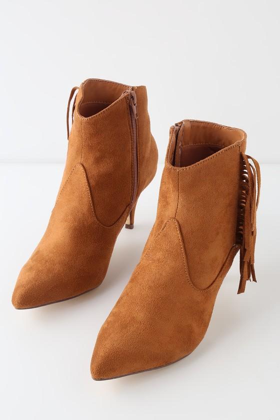 28d497b70d3f0 Cute Cognac Booties - Fringe Ankle Booties - Suede Ankle Booties