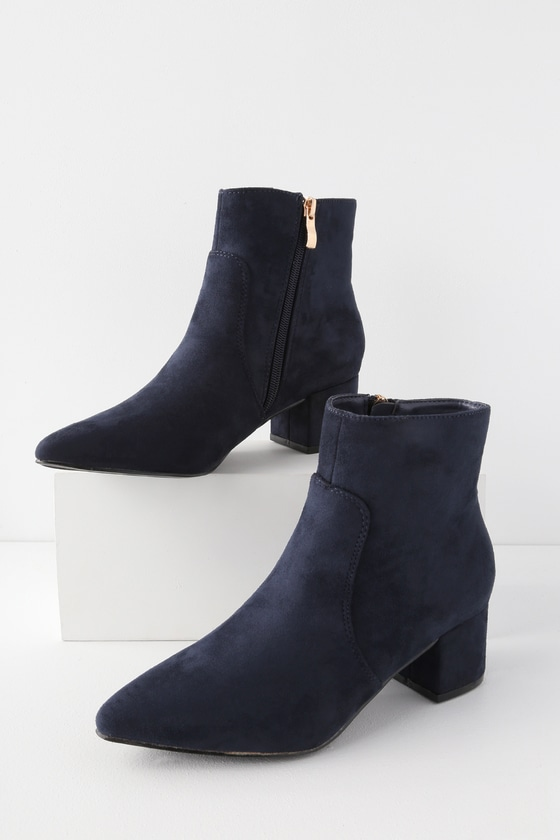 174dd62f08b8e Chic Navy Boots - Vegan Suede Boots - Pointed Toe Ankle Booties