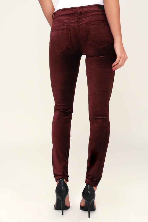 bd56f1fbbbf PAIGE Verdugo - Burgundy Velvet Skinny Jeans - Velvet Pants