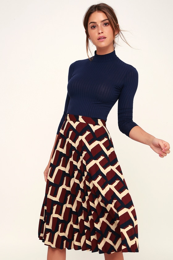02947756a5e7 Chic Burgundy Print Skirt - Midi Skirt - Cute Pleated Midi Skirt