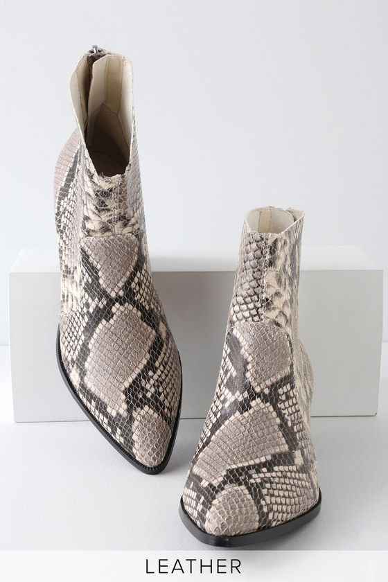 ce5159c9b6a Steve Madden Cafe - Snake Print Booties - Leather Ankle Booties
