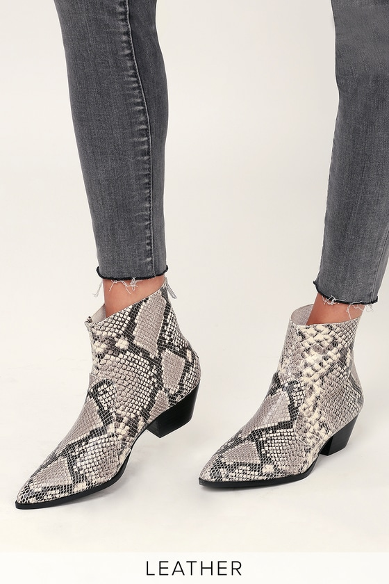 Cafe Natural Snake Leather Ankle Booties - Lulus