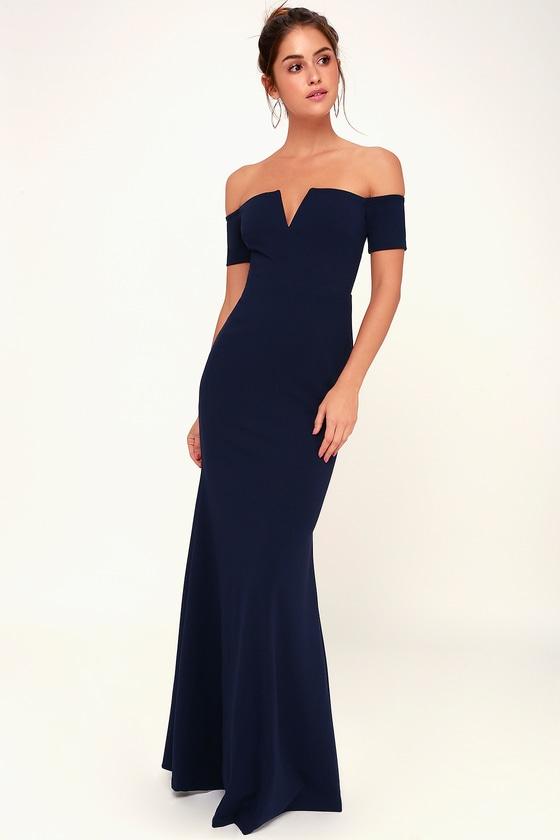 Lynne Navy Blue Off-the-Shoulder Maxi Dress - Lulus