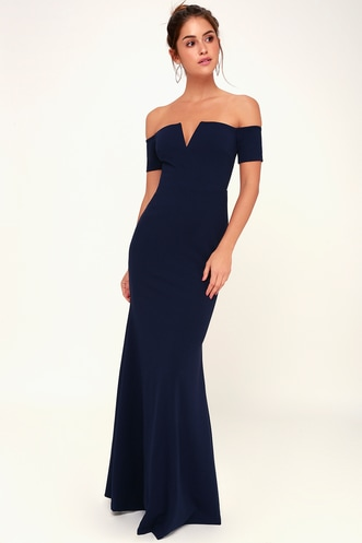 8b6b8d02d62 Lynne Navy Blue Off-the-Shoulder Maxi Dress