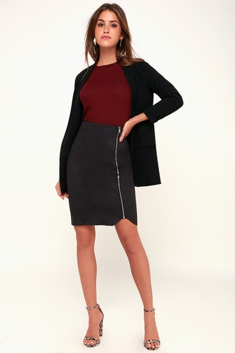 ef88c80ec5 Margeaux Washed Black Suede Pencil Skirt