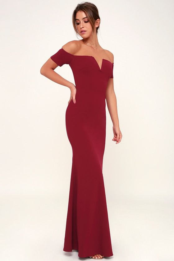 3f182dd1b0e Stunning Maxi Dress - Burgundy Mermaid Dress - Burgundy Dress