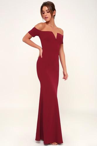 14147302d5e Lynne Burgundy Off-the-Shoulder Maxi Dress
