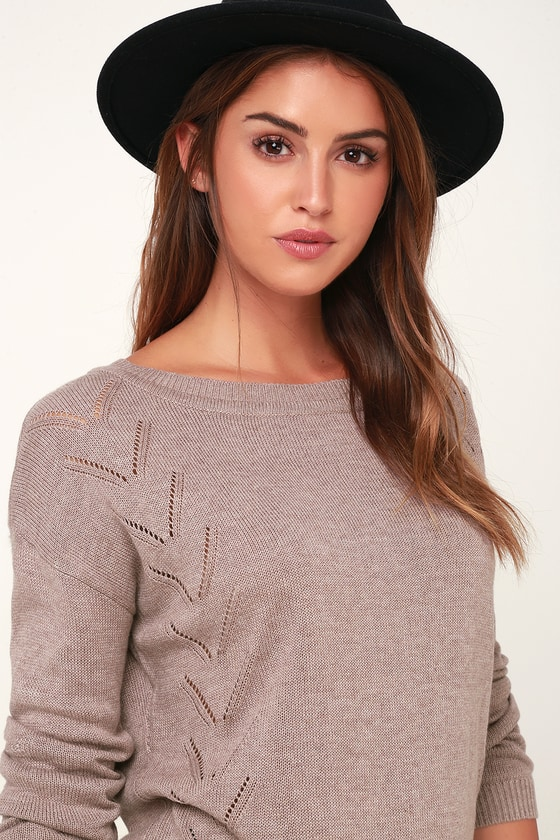 8fb9252a86 Cute Light Brown Sweater - Pointelle Sweater - Oversized Sweater