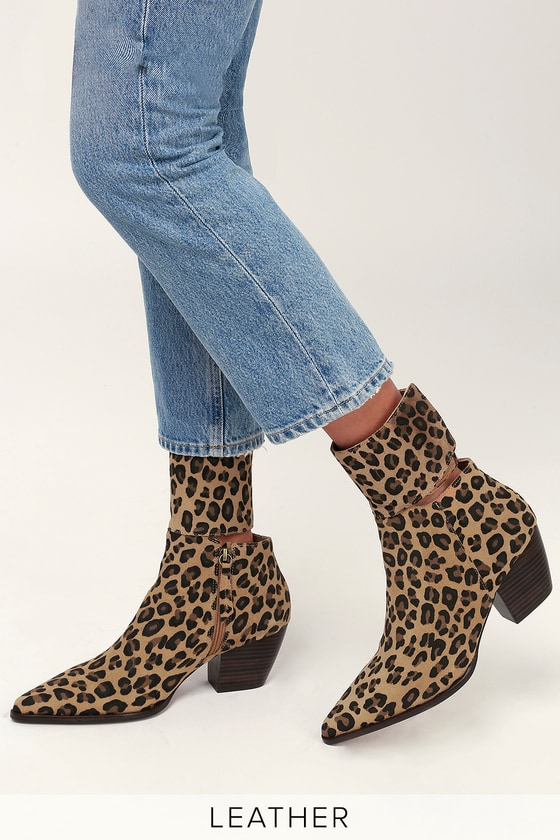 6cff625d9f0a Good Company Leopard Suede Leather Pointed Toe Mid-Calf Booties