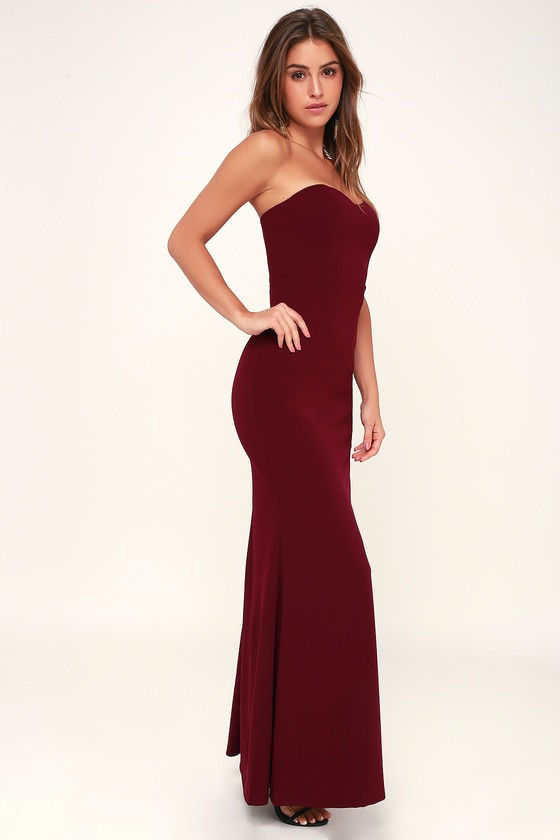Stand In The Spotlight Burgundy Strapless Maxi Dress by Lulus