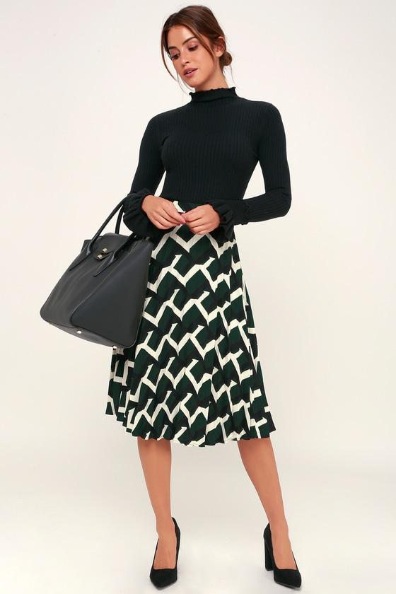 acd31da6f6 Chic Forest Green Print Skirt - Midi Skirt - Pleated Midi Skirt