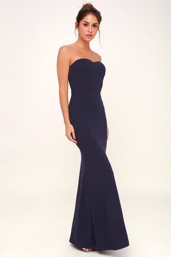 14547f3dcb42 Stunning Navy Blue Dress - Strapless Dress - Mermaid Maxi Dress