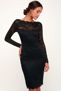 2066f73c1f66a Chic Black Dress - Off-the-Shoulder Dress - Midi Dress