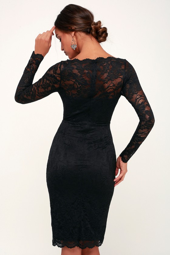 46f52e4104 Cute Black Lace Dress - Lace Bodycon Dress - Long Sleeve Dress