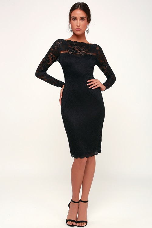 Margalo Black Lace Long Sleeve Bodycon Dress