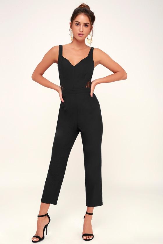 ceeffec0212 4SI3NNA Rumi - Black Jumpsuit - Skinny Jumpsuit - Lace Jumpsuit