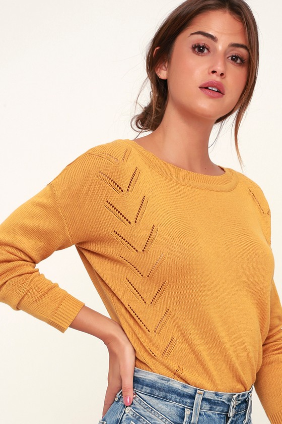 add2c091008 Cute Mustard Yellow Sweater - Knit Sweater - Oversized Sweater