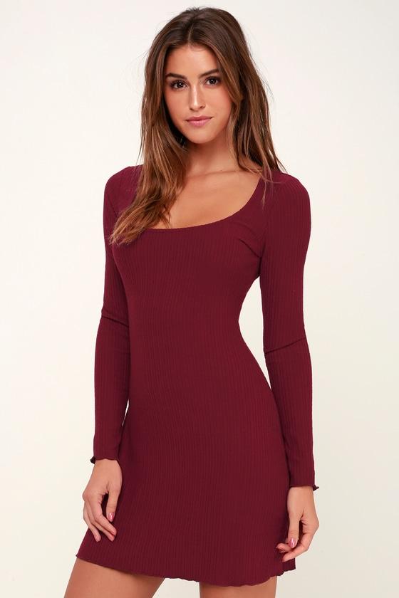 67bb42ee391 Cute Burgundy Dress - Ribbed Knit Dress - Long Sleeve Dress