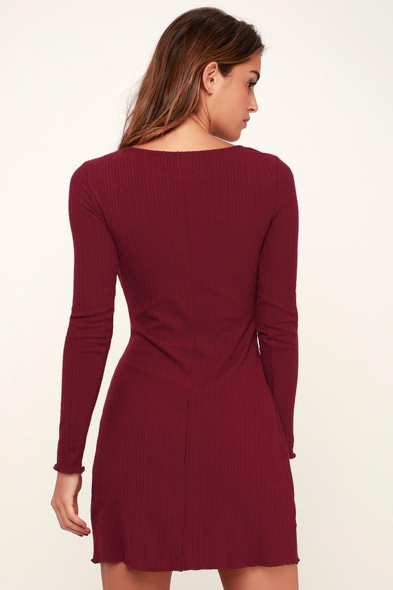 eb0ee43cc99a Cute Burgundy Dress - Ribbed Knit Dress - Long Sleeve Dress