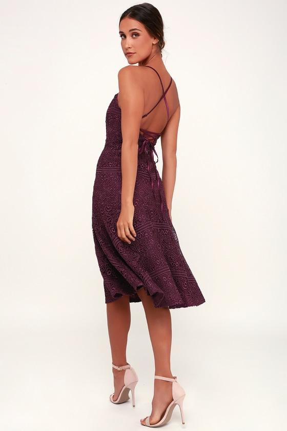 315a7c2b53f058 Lovely Plum Purple Lace Dress - Lace-Up Dress - Lace Midi Dress