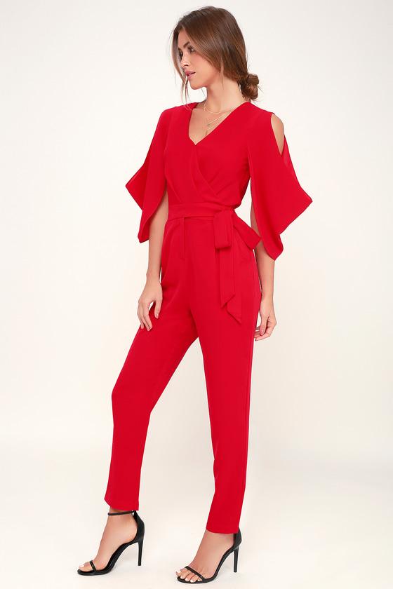 f5aff6540b4b Sexy Red Jumpsuit - Cutout Jumpsuit - Cold-Shoulder Jumpsuit