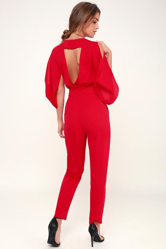 62944f24a8c Sexy Red Jumpsuit - Cutout Jumpsuit - Cold-Shoulder Jumpsuit